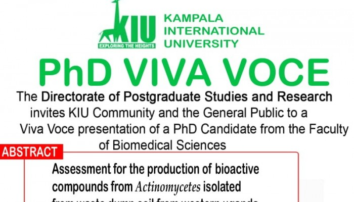 Directorate of Higher Degrees and Research to Hold PhD Viva Voce on March 12th, 2020