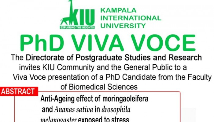 Directorate of Higher Degrees and Research to Hold PhD Viva Voce on March 3rd, 2020