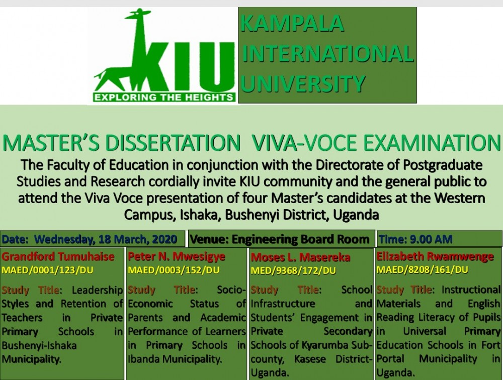 kiu-to-hold-master's-dissertation-viva-voce-examination-at-western-campus