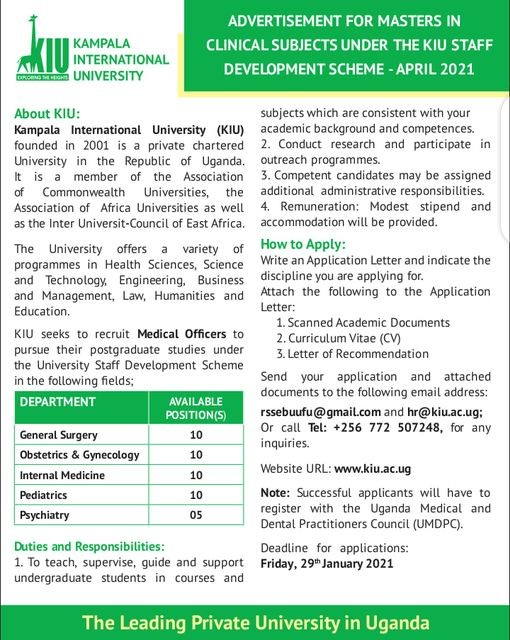 KIU to Recruit Medical Officers Under the University Staff Development Scheme for Post-Graduate Studies